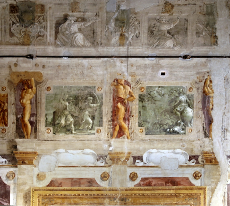 Pier francesco battistelli e aiuti, affreschi con scene dell'orlando furioso e della gerusalemme l. tra telamoni, 1619-28, 13 - Sailko - Gualtieri (RE)