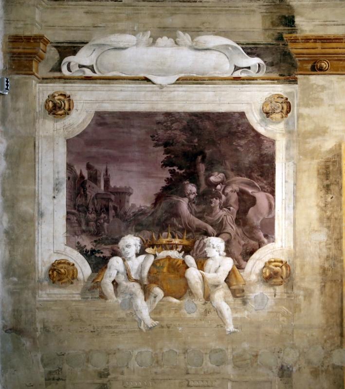 Pier francesco battistelli e aiuti, affreschi con scene dell'orlando furioso e della gerusalemme l. tra telamoni, 1619-28, 15 - Sailko - Gualtieri (RE)