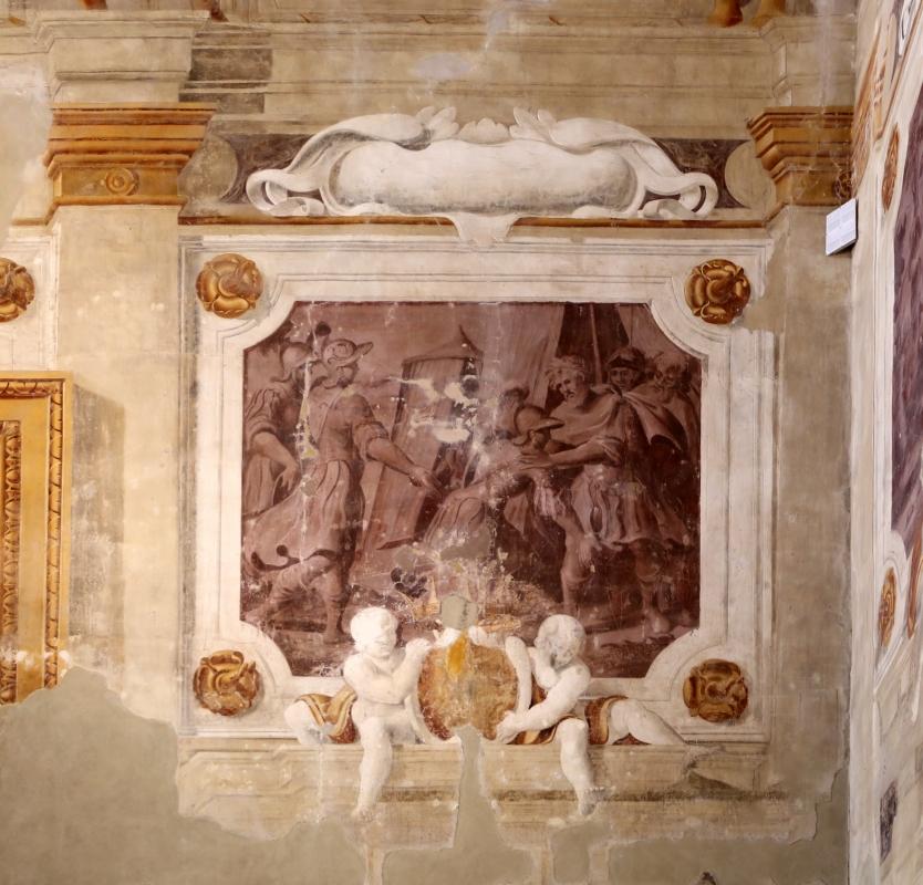 Pier francesco battistelli e aiuti, affreschi con scene dell'orlando furioso e della gerusalemme l. tra telamoni, 1619-28, 21 - Sailko - Gualtieri (RE)