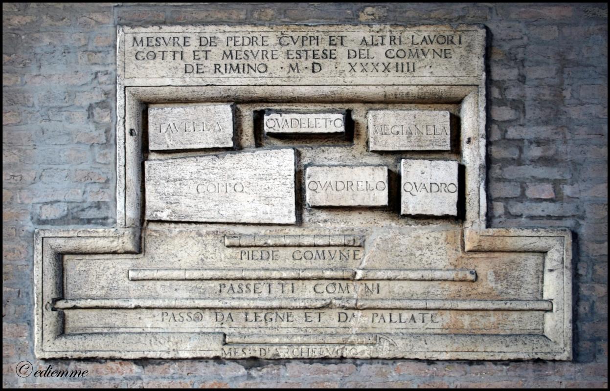 Tabella delle misure - Rimini, anno 1545 - Ediemme - Rimini (RN)