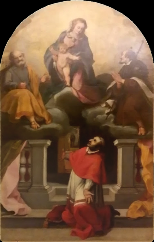 Vergine Bambino con san Giuseppe, il beato Amato e san Carlo Borromeo (Cialdieri) - Girolamo Cialdieri - Saludecio (RN)