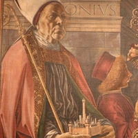 Francesco del cossa, pala dei mercanti, col committente alberto de' cattanei, 1474, 03,1 - Sailko - Bologna (BO)