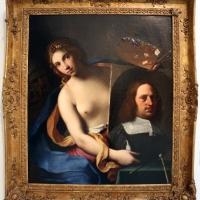Gian domenico cerrini, la pittura regge l'autoritratto del pittore, 1650 ca., 01 - Sailko - Bologna (BO)