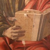 Francesco del cossa, pala dei mercanti, col committente alberto de' cattanei, 1474, 09 libro - Sailko - Bologna (BO)