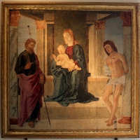 Lorenzo costa, madonna col bambino in trono tra i ss. giacomo e sebastiano, 1491, da arte dei pallacani - Sailko - Bologna (BO)