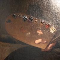 Gian domenico cerrini, la pittura regge l'autoritratto del pittore, 1650 ca., 02 tavolozza - Sailko - Bologna (BO)