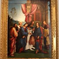 Lorenzo costa, sposalizio della vergine tra i ss. gioacchino, anna e un frate francescano, 1505, dall'annunziata 01 - Sailko - Bologna (BO)