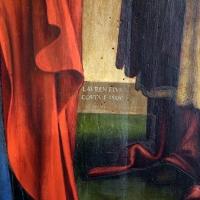 Lorenzo costa, sposalizio della vergine tra i ss. gioacchino, anna e un frate francescano, 1505, dall'annunziata 03 firma - Sailko - Bologna (BO)