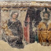 Ambito di vitale da bologna, madonna in trono col bambino e santo vescovo, 1360-65 ca., da s.m. maddalena - Sailko - Bologna (BO)