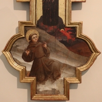 Giovanni da modena, croce sagomata col padre eterno, maria dolente e i ss. giovanni e francesco, 1415 ca, da s. francesco 07 - Sailko - Bologna (BO)