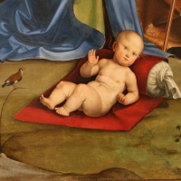Francesco francia, adorazione del bambino con santi alla presenza di anton galeazzo e alessandro bentivoglio, 1498-99, da s.m. della misericordia 06 - Sailko - Bologna (BO)