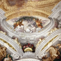 Domenico Maria Canuti, salone di palazzo pepoli campogrande con apoteosi di ercole, quadrature del mengazzino, xvii sec. 36 - Sailko - Bologna (BO)