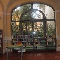 Biblioteca Comunale - dettaglio libreria vetrata - Maurolattuga - Imola (BO)
