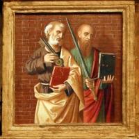 Marco palmezzano, madonna col bambino tra i ss. giovanni ev. e caterina d'a., 15410 ca. 03 pietro e paolo - Sailko - Forlì (FC)