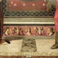 Marco palmezzano, madonna col bambino tra i ss. giovanni ev. e caterina d'a., 15410 ca. 02 gradino e firma - Sailko - Forlì (FC)