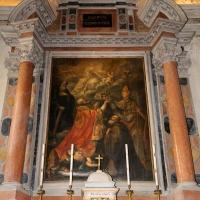 Forlì, san mercuriale, interno, cappella del ss. sacramento, la città di forlì innalzata dai suoi protettori verso la fede - Sailko - Forlì (FC)