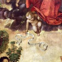 Francesco zaganelli da cotignola, concezione della vergine, 1513, da s. biagio in s. girolamo a forlì, 03 angelo con cartiglio - Sailko - Forlì (FC)