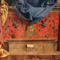 Marco palmezzano, madonna col bambino in trono tra i ss. bartolomeo e antonio (pala denti), 1513, dalla ss. annunziata a forlì, 02 altare con girali - Sailko - Forlì (FC)