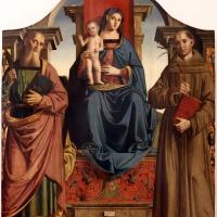 Marco palmezzano, madonna col bambino in trono tra i ss. bartolomeo e antonio (pala denti), 1513, dalla ss. annunziata a forlì, 01 - Sailko - Forlì (FC)