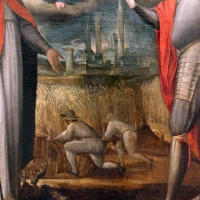 Gian francesco modigliani, madonna col bambino tra i ss. mercuriale e valeriano, 1590-1600 ca. 02 mietitori e veduta cittadina - Sailko - Forlì (FC)