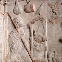 Tommaso fiamberti, monumento funebre di luffo numai, con rilievi di giovanni ricci, 1502-09, 04 adorazione del bambino 2 bue, asinello e san giuseppe - Sailko - Forlì (FC)
