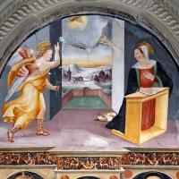 Scuola tosco-romagnola, annunciazione e i ss. caterina d'a., g. battista e antonio abate, 1547, 02 - Sailko - Galeata (FC)