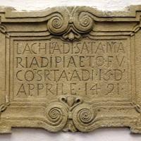 Pianetto (galeata), santa maria dei miracoli, interno, lapide con data di fondazione della chiesa, 16 aprile 1491 - Sailko - Galeata (FC)