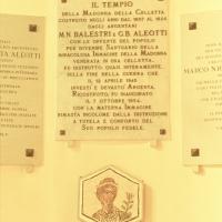 Santuario della Celletta. Lapide dedicatoria - Samaritani - Argenta (FE)