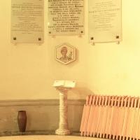 Santuario della Madonna della Celletta. lapide dedicatoria - Samaritani - Argenta (FE)