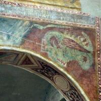 Scuola bolognese, ciclo dell'abbazia di pomposa, 1350 ca., apocalisse, 19 michele sconfigge il drago 4 - Sailko - Codigoro (FE)