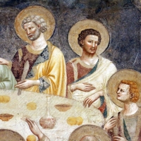 Pomposa, abbazia, refettorio, affreschi giotteschi riminesi del 1316-20, ultima cena 04 - Sailko - Codigoro (FE)