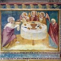 Scuola bolognese, ciclo dell'abbazia di pomposa, 1350 ca., vecchio testamento, 04 abramo e gli angeli - Sailko - Codigoro (FE)