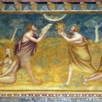 Scuola bolognese, ciclo dell'abbazia di pomposa, 1350 ca., vecchio testamento, 01 adamo, eva, caino e abele 3 - Sailko - Codigoro (FE)