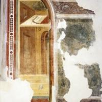 Pomposa, abbazia, refettorio, affreschi giotteschi riminesi del 1316-20, scranni 02 - Sailko - Codigoro (FE)