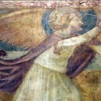 Scuola bolognese, ciclo dell'abbazia di pomposa, 1350 ca., apocalisse, 19 michele sconfigge il drago 3 - Sailko - Codigoro (FE)