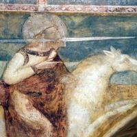 Scuola bolognese, ciclo dell'abbazia di pomposa, 1350 ca., apocalisse, 17 anbgeli e cavaliere bianco 3 spada in bocca - Sailko - Codigoro (FE)