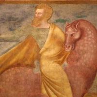 Scuola bolognese, ciclo dell'abbazia di pomposa, 1350 ca., apocalisse, 05 quattro cavalieri 2,2 rosso - Sailko - Codigoro (FE)