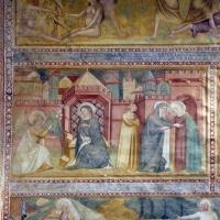 Scuola bolognese, ciclo dell'abbazia di pomposa, 1350 ca., nuovo testamento, 01 annunciazione e visitazione - Sailko - Codigoro (FE)