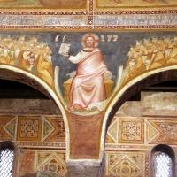 Scuola bolognese, ciclo dell'abbazia di pomposa, 1350 ca., apocalisse, 03 corte celeste e gesù col libro dei sette sigilli 1 - Sailko - Codigoro (FE)