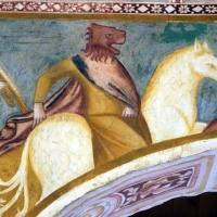 Scuola bolognese, ciclo dell'abbazia di pomposa, 1350 ca., apocalisse, 06 cavalieri con testa leonina 2 - Sailko - Codigoro (FE)