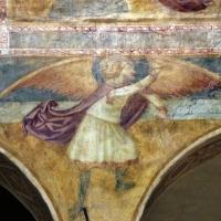Scuola bolognese, ciclo dell'abbazia di pomposa, 1350 ca., apocalisse, 19 michele sconfigge il drago 2 - Sailko - Codigoro (FE)