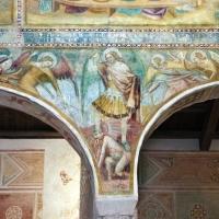 Scuola bolognese, ciclo dell'abbazia di pomposa, 1350 ca., apocalisse, 11 michele e gli angeli sconfiggono satana 1 - Sailko - Codigoro (FE)