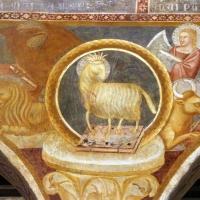 Scuola bolognese, ciclo dell'abbazia di pomposa, 1350 ca., apocalisse, 04 agnello tra il tertamorfo 2 - Sailko - Codigoro (FE)