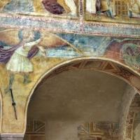 Scuola bolognese, ciclo dell'abbazia di pomposa, 1350 ca., apocalisse, 19 michele sconfigge il drago 1 - Sailko - Codigoro (FE)