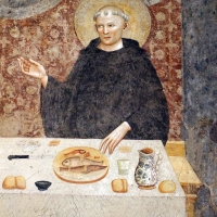 Pomposa, abbazia, refettorio, affreschi giotteschi riminesi del 1316-20, miracolo dell'abate guido strambiati 05 - Sailko - Codigoro (FE)