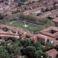 veduta aerea della città. Piazza Ariostea - Baraldi - Ferrara (FE)