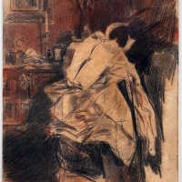 Giovanni boldini, la camicia del frac, 1890-1900 ca., matita e sanguigna - Sailko - Ferrara (FE)