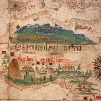 Anonimo portoghese, carta navale per le isole nuovamente trovate in la parte dell'india (de cantino), 1501-02 (bibl. estense) 08 - Sailko - Ferrara (FE)