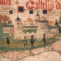 Anonimo portoghese, carta navale per le isole nuovamente trovate in la parte dell'india (de cantino), 1501-02 (bibl. estense) 10 africani - Sailko - Ferrara (FE)