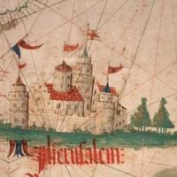 Anonimo portoghese, carta navale per le isole nuovamente trovate in la parte dell'india (de cantino), 1501-02 (bibl. estense) 15 gerusalemme - Sailko - Ferrara (FE)